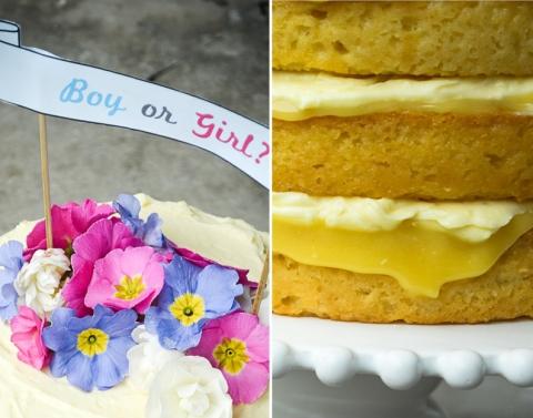 Lemon Coconut Syrup Cake_Baby Reveal Cake