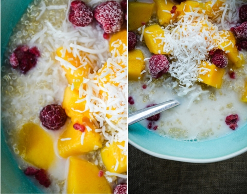Quinoa Mango Raspberry Coconut_Breakfast Bowl