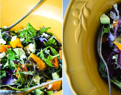 Shredded Red Cabbage and Pumpkin Salad